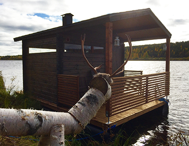 Floating Sauna and Swimming in Arctic River