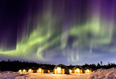 Aurora borealis and dinner in an ice restaurant